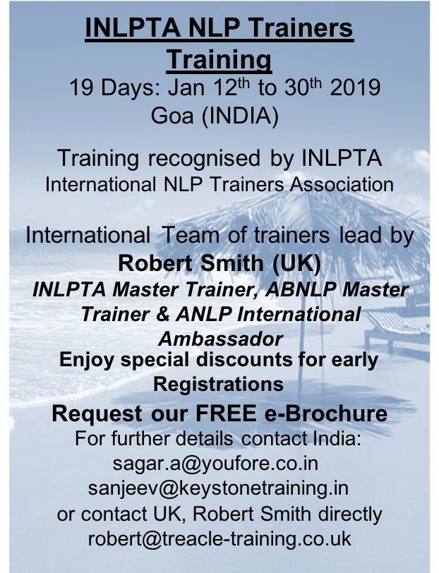NLP Trainers Training Jan 2019 (INLPTA)